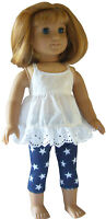 """For 18"""" American Girl Navy Star Capri's & White Eyelet Babydoll Top Doll Clothes"""