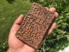 Antico Cinese Cantonese Legno di Sandalo Card Caso 1875. profondamente intagliati. forte profumo