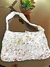 GROCERY BAG CROCHET TOTE Shopper Handmade Recycled Plastic WHITE Flower LARGE