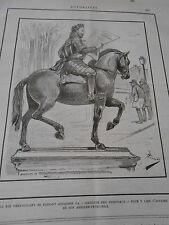 Caricature 1891 Le Roi Vert Galant se faisant adresser la Gazette des Tribunaux