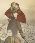 ANTIQUE 1887 LA STAGIONE HAND COLOR ITALIAN FASHION PLATE PRINT VICTORIAN ITALY