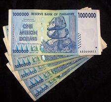 5 x Zimbabwe 1 Million Dollar Banknotes-paper money currency
