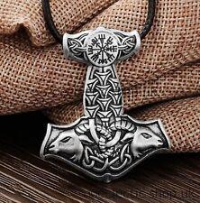 Viking Thor's Hammer Tanngrisnir & Tanngnjóstr vegvis Mjolnir cabras Collar d5