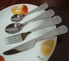 4pce Stainless Steel Children's Teddy Bear Cutlery Set Christening Baby Shower
