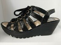 Fly London 37 (6.5 -7) Black Patent Leather Cutout Platform Goth Wedge Sandals