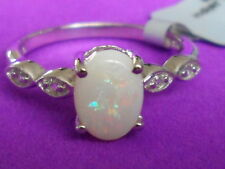 Genuine COOBER PEDY OPAL RING WITH WHITE TOPAZ IN STERLING SILVER 1.13CTS J ~ K