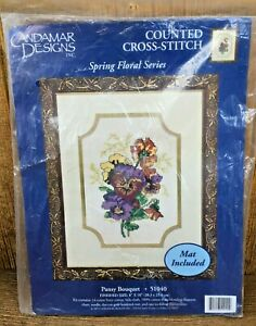 Candamar Pansy Bouquet Spring Floral Vintage Counted Cross Stitch Unused Kit
