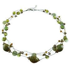 Collier femme Ras De Cou - fil doré Libellules Doré Perle Céramique Vert Marron