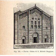Stampa antica PAVIA Chiesa di San Michele Maggiore 1910 Old print