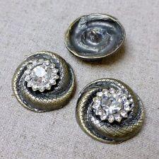 2 pcs BRONZE Rhinestone shank button decorative brooch button