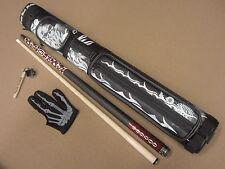 Voodoo Pool Cue 8 Ball Mafia 2x2 Case Deadstroke Chalker & Voodoo Glove Package