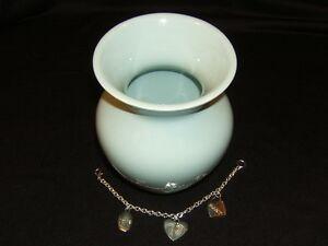 FTD Designer Vase Baby Boy Blue 6 1/4-in x 5-in Silver Charm Chain Ceramic