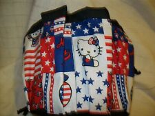 HELLO KITTY RED, WHITE AND BLUE   PRINT  CLOTH 9 POCKET BINGO BAG HANDMADE