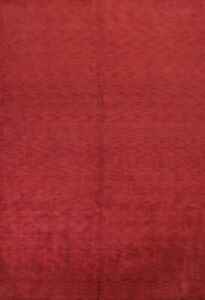 Contemporary Solid Red Gabbeh Indian Oriental Modern Hand Knotted Area Rug 9x12