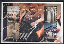 Grenada 2014 MNH Canonization Blessed Pope John Paul II 4v M/S II Popes Catholic