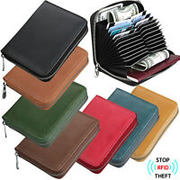 Men's RFID Block Genuine Leather Secure Credit Card Holder Large Capacity Wallet