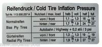 Air Cooled T1 Bug Tyre Pressure Inflation Stickers Ghia Type 1 Type 3 113000257A