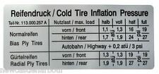 VW Beetle Tyre Pressure / Inflation Stickers - BUG / Ghia / Type 3 - Tire