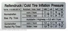 VW Beetle Pressione Gomme/Adesivi INFLAZIONE-INSETTO/Ghia/tipo 3-TIRE