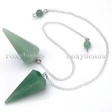 1X Natural Aventurine Faceted Pendulum Dowsing Pyramid Healing Chakra Pendant FB