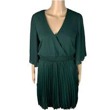 Kenedik Dress Chiffon A Line Pleated Short Flare Sleeve Women's Size Medium