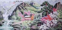 100% ORIGINAL ASIAN FINE ART CHINESE SANSUI WATERCOLOR PAINTING-Mountains&Flower