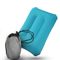 Inflatable Travel Air Neck Pillow Camping Hiking Backpack Pillow w/ Cotton Cover