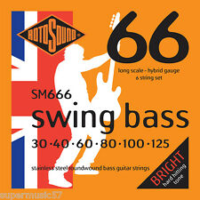 Rotosound SM666 6 String Swing Bass Guitar Stainless Steel Roundwound 30-125
