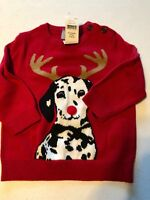 New Baby Gap Boy's 6 12 Months Sweater Holiday Red Dog Reindeer Christmas