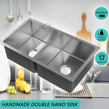 2 Bowl Double Kitchen Sink Stainless Steel Laundry Undermount Handmade Sink