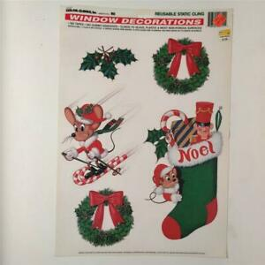 90's Color Clings, Inc. Window Stickers Decorations Christmas Mice Stockings