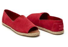 TOMS Raspberry Suede Women's Open Toe Alpargatas Shoes. Style: 10007570