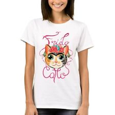 Frida Catlo Women T Shirts Fashion Lady Tops Short Sleeve Funny Cat Printed T