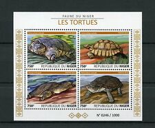 Niger 2015 MNH Turtles 4v M/S Reptiles Fauna Helmeted Turtle Tortoise Stamps