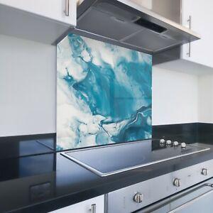 Toughened Printed Kitchen Glass Splashback - Bespoke Sizes - Blue Marble 108
