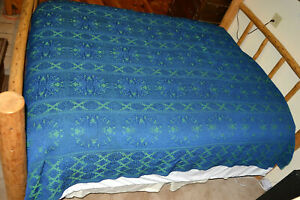 Heavy Woven Brocade Retro Bedspread 1960s 109x89 Vtg CoverleTapestry Full Queen