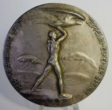 RARE HUGE 1925 LARGE SILVERED ZEPPELIN ECKENER MEDAL, NUDE MALE HOLDING EAGLE