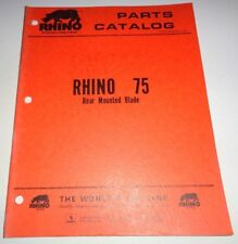 Rhino 75 Rear Mounted Blade Parts Catalog Manual Book Original  Servis