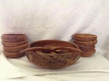 Vintage 11 Piece Hand Carved Wooden Salad Bowl Set