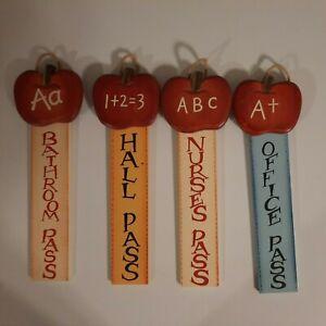 Decorative Hanging Wooden Hall Passes For Teacher's Classroom Handmade Set Of 4