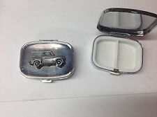 Austin A35 Van ref8  pewter effect car emblem on silver metal pill box