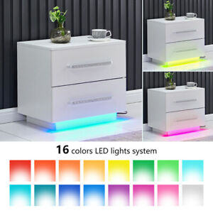 LED Nightstand Cabinet Bedside Table Night Table with 2 Drawers Lamp Stand White