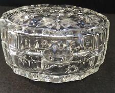 VTG Clear Cut Crystal Glass Round Trinket/Jewerly  Box Star Design *Beautiful*