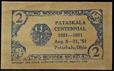 1951 TWO WOODEN NICKELS Pataskala, Ohio - PATASKALA CENTENNIAL SOUVENIR - NCC