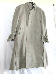 Pierre Cardin Paris New York Gray Wool Tweed over coat 38 Stand up collar