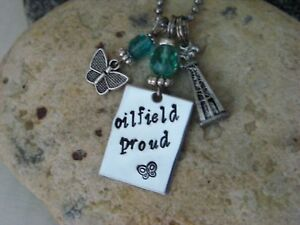 Oilfield Necklace hand created Oilfield Proud oil rig charm butterfly pendant