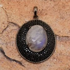 Oval Cab Rainbow Moonstone Black Spinel 925 Sterling Silver Pave Disc Pendant