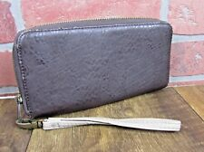 Dark brown faux pebble leather zip around wallet wristlet strap GUC soft CUTE