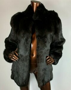 vintage black coney rabbit real fur coat kacket black short s uk 8 uk10