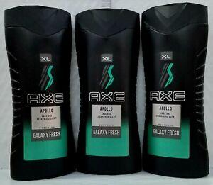 LOT OF 3 Axe Apollo Body Wash Sage & Cedarwood Scent Galaxy Fresh (400ml each)